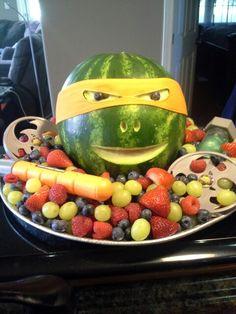 Teenage Mutant Ninja Turtle fruit tray.