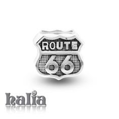 Route 66: Route 66 highway signpost bead: designed exclusively by Halia, this bead fits other popular bead-style charm bracelets as well. Sterling silver, hypo-allergenic and nickel free.    $35.00