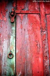 Red antique door