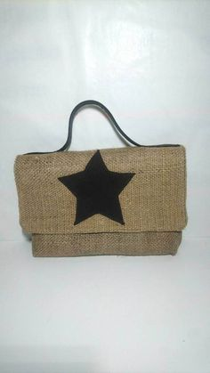 26417174715d Bag in hands, cover by hands, Burlap, flap closure bag, beige bag with star