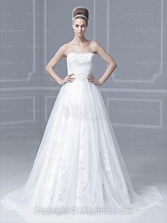 BallGown Strapless Tulle Satin Sweep Train White Appliques Wedding Dresses