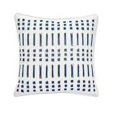 Under The Canopy Amalfi Stripe Embroidered Ikat Decorative Pillow 16 Inch Living Room Pillows