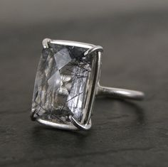 Statement Solitaire Ring - Sterling Silver and  Faceted Black Rutilated Quartz