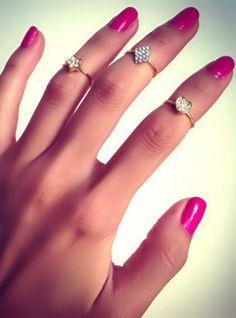 Crystal Diamond Midi Rings ♡ L.O.V.E.