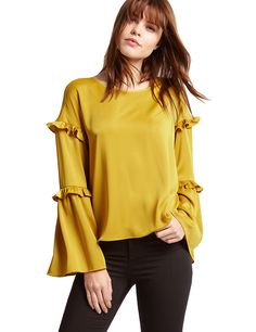 M&S Limited Edition Satin Ruffle Long Sleeve Shell Top.  UK16 EUR44 & UK18 EUR46  MRRP: £35.00GBP - AVI Price: £28.00GBP