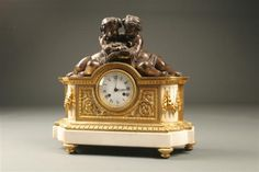 19th Century French Neo Classic bronze and marble clock with cupids reading book, circa 1860. #antique #clock