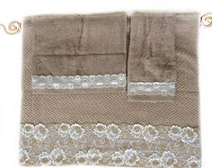 Tan Decorative towel set of 3 Gold Cream Lace decorated Towels Guest Bathroom Decor idea  Master Bath Towel set of Luxury Chevron Towels by blingscarves. Explore more products on http://blingscarves.etsy.com