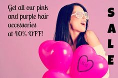 Pink, purple hair feathers, hair extensions and accessories are all 40% OFF until Valentine's day.
