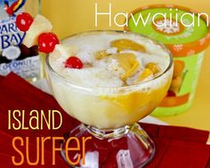 Cocktail Friday -- Hawaiian Island Surfer  INGREDIENTS  2 oz Orange Pineapple juice  1 oz Cream of Coconut  2 oz Coconut Rum  3 Scoops Mango Sorbet (Lemon, Lime, or sherbert would be fine too)  4 oz Lemon Lime Soda  Cherries and Pineapple Chunks, for garnish     In a LARGE glass (LARGE!!) combine Orange Pineapple Juice, Rum, and Cream of Coconut.  Add sorbet. Pour soda over the top and garnish with cherries and pineapples.