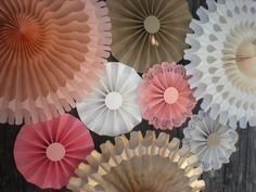 Coral Cream Gold Paper Fans for Photo or Table by DellaCartaDecor