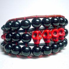 Gothic Red Skull and Black Agate Wide Leather Cuff Handmade Bracelet | KatsAllThat - Jewelry on ArtFire