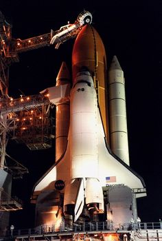 Space Shuttle Discovery stands ready for launch of mission STS-92, the 5th flight to the International Space Station and the 100th mission of the Shuttle program. Launch occurred October 11, 2000.