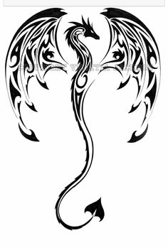 Tribal dragon back design. I like it, save for the spade at the end of the tail and how the wings aren't furled out a bit more… Tribal dragon back design. I like it, save for the spade at the end of the tail and how the wings aren't furled out a bit more… Kunst Tattoos, Body Art Tattoos, New Tattoos, Tatoos, Wing Tattoos, Tattoos Pics, Sleeve Tattoos, Tribal Dragon Tattoos, Dragon Tattoo Designs