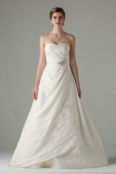 """Strapless A-Line Ball Gown With Side Draping Detail; """"Helette"""" by Anne Barge Fall 2015~~"""