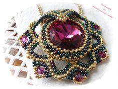 Beading Pattern Leia Pendant - Beading Patterns by Beaded Jewelry Designs, Seed Bead Jewelry, Bead Jewellery, Jewelry Patterns, Beading Patterns, Handmade Jewelry, Beaded Brooch, Beaded Necklace, Beaded Bracelets