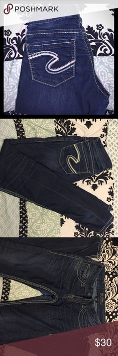 Silver Aiko Skinny Jeans Excellent Condition Silver skinny jeans!! Super cute and comfy! Dark wash. Silver Jeans Jeans Skinny