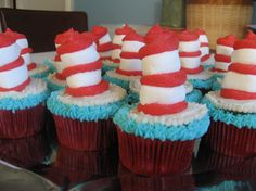 Decorating cupcakes for dr Seuss Bday with my art class next week. This seems like a good and rather easy idea.