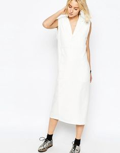 ASOS WHITE Shirt Dress with Side Button Detail _ minimal straight cut dress with v neck and peak lapels, woven lightweight poliester