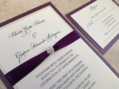 Bling Wedding Invitation, Crystal Jewel, Unique, Elegant Wedding, Bat Mitzvah, Sweet Sixteen, Plum and Champagne - Josie