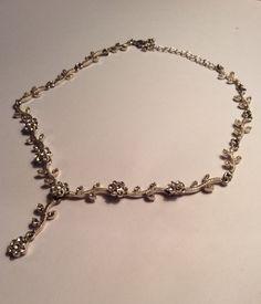 Beautiful silver tone flower chain link bridal with Swarovski crystal flower wedding vintage girlfriend gift valentine necklace by AliceAndBettyDesigns on Etsy
