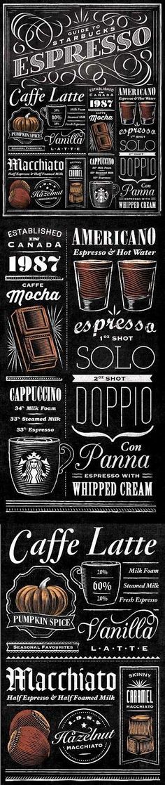 ☕ Coffee café menu ☕ Starbucks #chalkboard art Download @: vintagemeohmy                                                                                                                                                                                 Mais