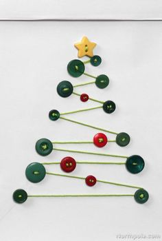 Craft Cottage - DIY Gift Bags: Cute as a Button - Homemade Button Tree Christmas Card Idea / Easy Holiday Craft Ideas ༺✿ƬⱤღ✿༻ - Diy Christmas Cards, Homemade Christmas, Christmas Projects, Kids Christmas, Christmas Decorations, Christmas Ornaments, Christmas Button Crafts, Simple Christmas, Christmas Buttons