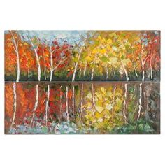 """A gallery-worthy addition to any room, this lovely canvas painting showcases an impressionistic landscape motif.   Product: Set of 2 canvas paintingsConstruction Material: Canvas and woodFeatures: Impressionistic landscape motifDimensions: 16"""" H x 48"""" W each"""