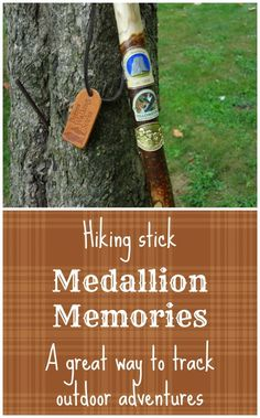 Great Christmas gift idea for a camper, hiker, or outdoor enthusiast: A hiking stick for collecting medallions