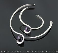 Art Smith Modernist Sterling and Amethyst Necklace and Bracelet, 50s