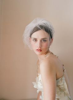 Bridal tulle blusher veil - Triple layer rhinestone adorned tulle veil with blusher - Style 216 - Made to Order. $350.00, via Etsy.
