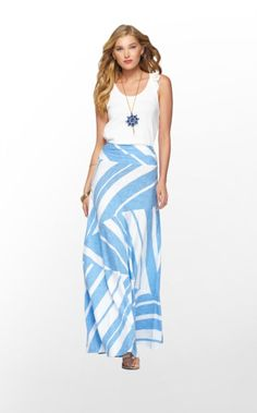 Lilly Pulitzer Summer '13- Jolene Skirt in Tide Blue Lazy Days Stripe $148