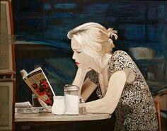 Art — bibliophilefiles: Arie Azene (via. I Love Books, Good Books, Books To Read, Reading Art, Woman Reading, Reading Books, Book People, Reading People, World Of Books