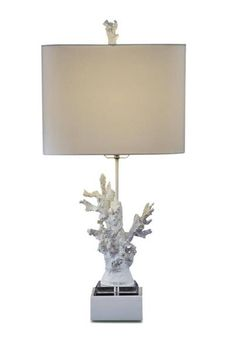 Gloss White Coral Glass Shade Drum Table Lamp