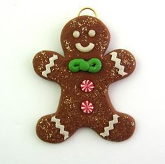 Mini Christmas Ornament Gingerbread Man Cookie Polymer Clay