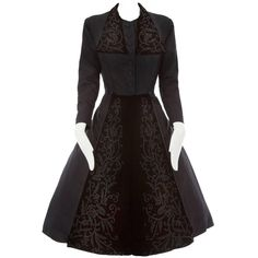 Dior+Haute+Couture+Black+Silk+Taffeta+Dress+Coat,+Autumn+Winter+1948+|+From+a+collection+of+rare+vintage+evening+dresses+at+https://www.1stdibs.com/fashion/clothing/evening-dresses/