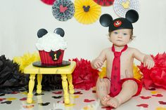 One Year Old Mickey Mouse Theme Cake Smash Party Session