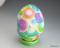 Rainbow Pastel Easter Egg in Polymer Clay Filigree by StarlessClay