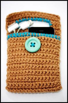 Crochet Cell Phone Charger Holder, Iphone, fits all phones (Brown)