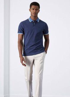 Polo liséré tissé gris - Polos - Clothing - Hommes | Hackett