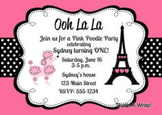 Pink Poodle in Paris Invitations Birthday Baby Shower. $15.00, via Etsy.