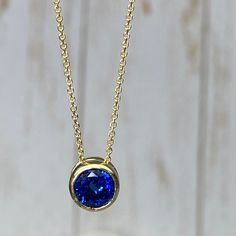 2.25Ct Created Diamond /& Oval Sapphire Solitaire Charm Pendant 14k Yellow Gold