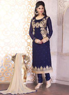 Navy Blue Georgette Churidar Designer Suit