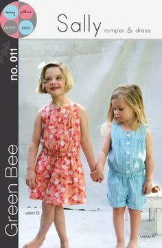 Green Bee Patterns Sally Girls Romper & Dress no.11