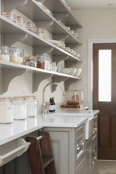 Hidden behind the main kitchen is the all important walk-in pantry which was ori… – kitchen pantry Kitchen Butlers Pantry, Kitchen Pantry Design, Butler Pantry, Kitchen Cabinets, Larder Cupboard, Kitchen Storage, Kitchen And Bath, New Kitchen, Kitchen Dining