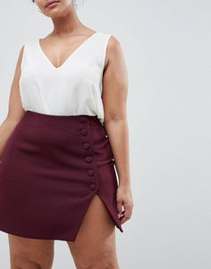 Buy ASOS DESIGN Curve side button mini skirt with front split at ASOS. Get the latest trends with ASOS now. Plus Size Mini Skirts, Plus Size Dresses, Plus Size Outfits, Plus Size Womens Clothing, Clothes For Women, Size Clothing, Curvy Fashion, Plus Size Fashion, Belle Nana