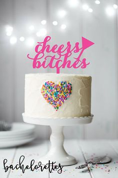 bachelorette party ideas - bachelorette party cake topper - cheers bitches