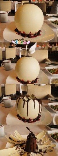 """Glowing pearl"". White chocolate globe and dark chocolate truffle cake inside."
