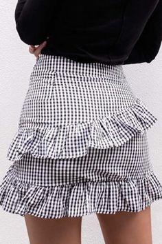 ab4782fbee Black White Plaid Print Ruffled Tie Waist Chic Mini Skirt. Jean Skirt  OutfitsFlare Skirt OutfitDress ...