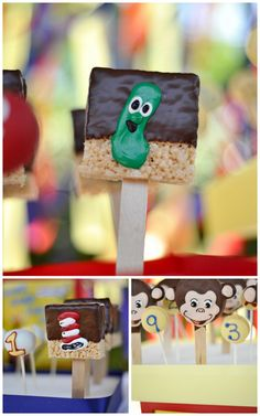 Storybook Shower-the dessert table: Veggie Tale Rice Krispy Treats and Lollicakes, Dr. Seuss Rice Krispy Treats, Macaron's on a stick, and Lollicakes, and Curious George
