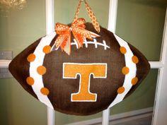 Go Vols - University of Tennessee Football - Burlap Door Hanger. $30.00, via Etsy.